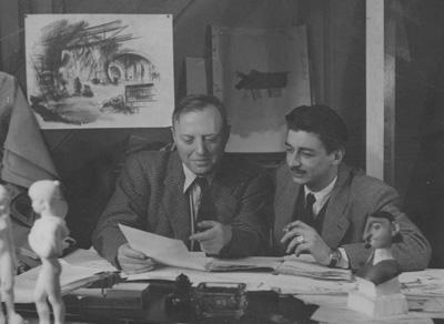 ポール・グリモーと、「王」の作画を担当したアンリ・ラカム(1948)